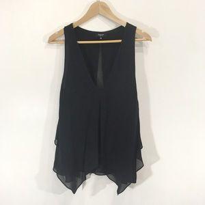 Babaton Silk Black Sleeveless Draped Blouse Medium